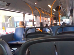 Парочка занимается сексом в общественном транспорте